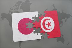 Puzzle with the national flag of japan and tunisia on a world map background. 3D illustration royalty free stock photos
