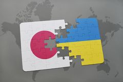 Puzzle with the national flag of japan and ukraine on a world map background. 3D illustration royalty free stock photos