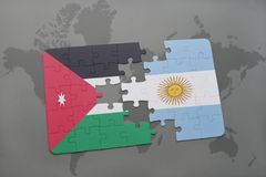Puzzle with the national flag of jordan and argentina on a world map background. Royalty Free Stock Photos