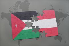 Puzzle with the national flag of jordan and austria on a world map background. 3D illustration Royalty Free Stock Image