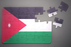 Puzzle with the national flag of jordan Stock Images