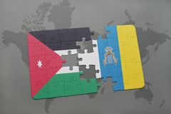 Puzzle with the national flag of jordan and canary islands on a world map background. 3D illustration Stock Photography