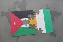 Puzzle with the national flag of jordan and cote divoire on a world map background. 3D illustration Stock Image