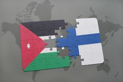 Puzzle with the national flag of jordan and finland on a world map background. 3D illustration Royalty Free Stock Photos