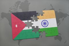 Puzzle with the national flag of jordan and india on a world map background. 3D illustration royalty free stock images