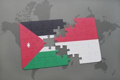 Puzzle with the national flag of jordan and indonesia on a world map background. 3D illustration Stock Images