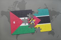 Puzzle with the national flag of jordan and mozambique on a world map background. 3D illustration Stock Photography