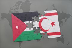 Puzzle with the national flag of jordan and northern cyprus on a world map background. Stock Photo