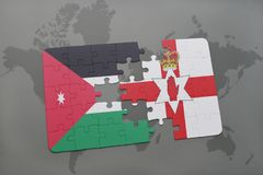 Puzzle with the national flag of jordan and northern ireland on a world map background. 3D illustration Royalty Free Stock Photos