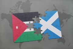Puzzle with the national flag of jordan and scotland on a world map background. 3D illustration Stock Photography
