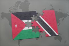 Puzzle with the national flag of jordan and trinidad and tobago on a world map background. 3D illustration Stock Photography