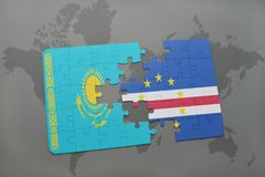 puzzle with the national flag of kazakhstan and cape verde on a world map Stock Photo