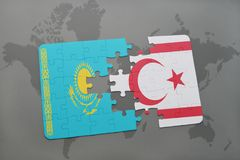 Puzzle with the national flag of kazakhstan and northern cyprus on a world map. Background. 3D illustration Stock Photo