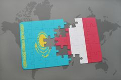 Puzzle with the national flag of kazakhstan and peru on a world map. Background. 3D illustration royalty free stock photos