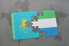 puzzle with the national flag of kazakhstan and sierra leone on a world map Royalty Free Stock Images