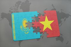Puzzle with the national flag of kazakhstan and vietnam on a world map. Background. 3D illustration royalty free stock images