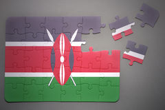 Puzzle with the national flag of kenya Royalty Free Stock Images