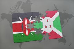 Puzzle with the national flag of kenya and burundi on a world map. Background. 3D illustration royalty free stock image