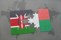 Puzzle with the national flag of kenya and madagascar on a world map. Background. 3D illustration stock photo