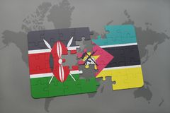 Puzzle with the national flag of kenya and mozambique on a world map Royalty Free Stock Image