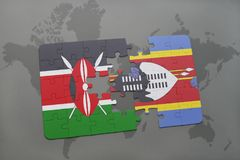 Puzzle with the national flag of kenya and swaziland on a world map. Background. 3D illustration stock images