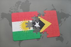 Puzzle with the national flag of kurdistan and east timor on a world map background. 3D illustration Stock Photo