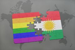 Puzzle with the national flag of kurdistan and gay rainbow flag on a world map background. 3D illustration Royalty Free Stock Images