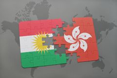 Puzzle with the national flag of kurdistan and hong kong on a world map background. 3D illustration Stock Image