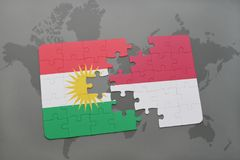 Puzzle with the national flag of kurdistan and indonesia on a world map background. 3D illustration Royalty Free Stock Photos