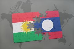 Puzzle with the national flag of kurdistan and laos on a world map background. 3D illustration Stock Images