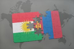 Puzzle with the national flag of kurdistan and mongolia on a world map background. 3D illustration Stock Images