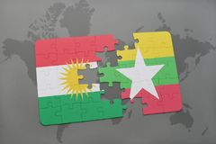 Puzzle with the national flag of kurdistan and myanmar on a world map background. 3D illustration Royalty Free Stock Image