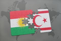 Puzzle with the national flag of kurdistan and northern cyprus on a world map background. Stock Photo