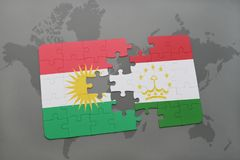 Puzzle with the national flag of kurdistan and tajikistan on a world map background. 3D illustration Royalty Free Stock Images