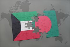 Puzzle with the national flag of kuwait and bangladesh on a world map background. 3D illustration Royalty Free Stock Photography