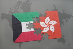 Puzzle with the national flag of kuwait and hong kong on a world map background. 3D illustration Royalty Free Stock Images