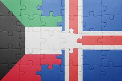 Puzzle with the national flag of kuwait and iceland. Concept Royalty Free Stock Photos