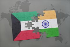 Puzzle with the national flag of kuwait and india on a world map background. 3D illustration Royalty Free Stock Image