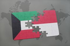 Puzzle with the national flag of kuwait and indonesia on a world map background. 3D illustration Stock Photography