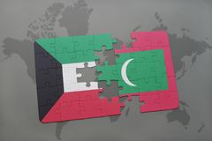Puzzle with the national flag of kuwait and maldives on a world map background. 3D illustration Royalty Free Stock Photos
