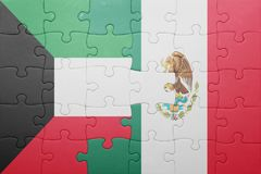 Puzzle with the national flag of kuwait and mexico. Concept royalty free stock images