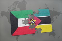 Puzzle with the national flag of kuwait and mozambique on a world map. Background. 3D illustration Stock Photos