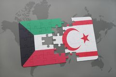 Puzzle with the national flag of kuwait and northern cyprus on a world map background. 3D illustration Royalty Free Stock Photos