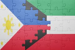 Puzzle with the national flag of kuwait and philippines Stock Image