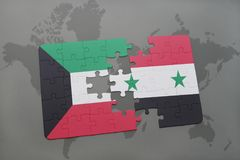 Puzzle with the national flag of kuwait and syria on a world map background. 3D illustration Royalty Free Stock Images