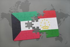 Puzzle with the national flag of kuwait and tajikistan on a world map background. 3D illustration Royalty Free Stock Image