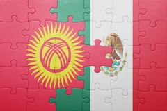 Puzzle with the national flag of kyrgyzstan and mexico. Concept royalty free stock images