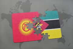 Puzzle with the national flag of kyrgyzstan and mozambique on a world map Stock Image