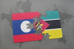 Puzzle with the national flag of laos and mozambique on a world map. Background. 3D illustration Stock Image