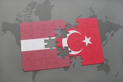 Puzzle with the national flag of latvia and turkey on a world map background. 3D illustration royalty free stock images